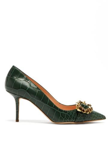 Matchesfashion.com Rupert Sanderson - Solitaire Point Toe Crocodile Effect Leather Pumps - Womens - Dark Green