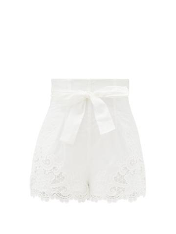 Matchesfashion.com Zimmermann - Lulu Broderie-anglaise Cotton Shorts - Womens - Ivory