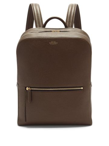 Matchesfashion.com Smythson - Ludlow Grained-leather Backpack - Mens - Dark Green