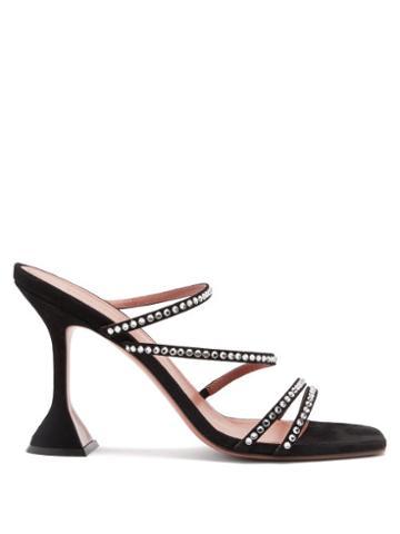 Matchesfashion.com Amina Muaddi - Naima Crystal-embellished Suede Sandals - Womens - Black