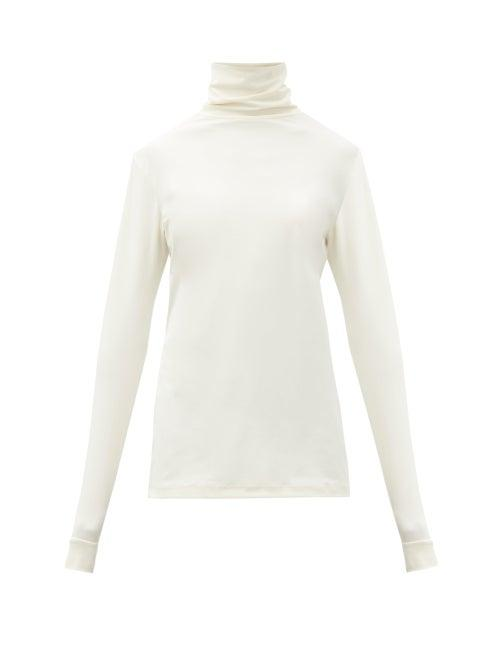 Matchesfashion.com Raf Simons - R-embroidered Roll-neck Jersey Top - Womens - Cream