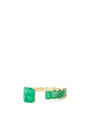 Matchesfashion.com Shay - Floating Emerald & 18kt Gold Ring - Womens - Green Gold
