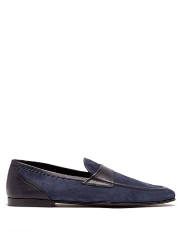 Matchesfashion.com Dolce & Gabbana - Leather-trimmed Suede Loafers - Mens - Navy