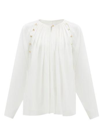 Matchesfashion.com Chlo - Pleated Silk-georgette Blouse - Womens - Cream