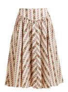 Matchesfashion.com Batsheva - Floral Print Cotton Skirt - Womens - Cream Multi