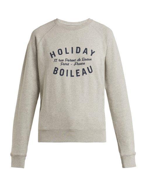 Matchesfashion.com Holiday Boileau - Logo Printed Cotton Sweatshirt - Womens - Grey