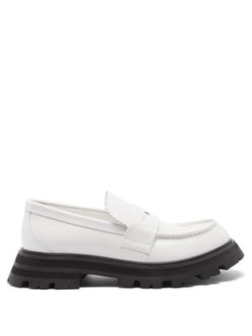 Alexander Mcqueen - Leather Penny Loafers - Womens - White Multi
