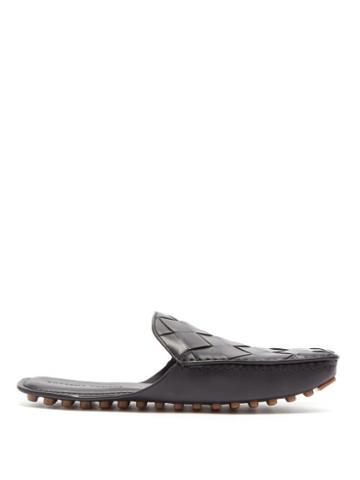 Matchesfashion.com Bottega Veneta - Intrecciato Backless Leather Slippers - Mens - Black