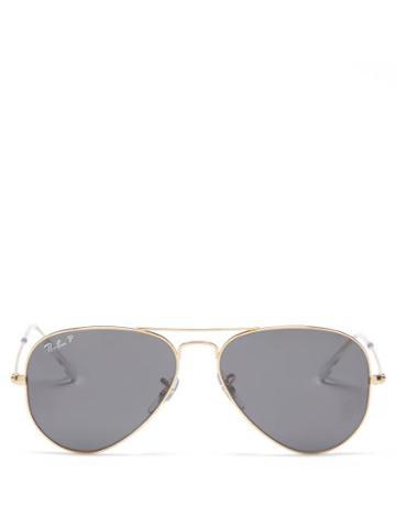Ray-ban - Aviator Metal Sunglasses - Womens - Black Gold