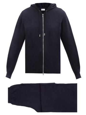 Matchesfashion.com Johnstons Of Elgin - Wool Hooded Sweater And Track Pants - Womens - Navy