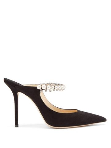 Matchesfashion.com Jimmy Choo - Bing 100 Crystal & Faux-pearl Strap Suede Mules - Womens - Black