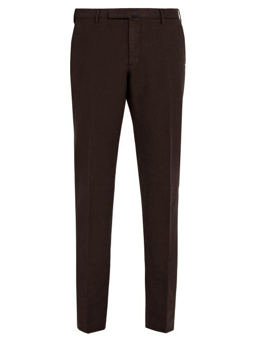Matchesfashion.com Incotex - Slim Leg Cotton Blend Chino Trousers - Mens - Burgundy