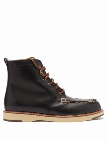 Matchesfashion.com Tod's - Topstitched Leather Ankle Boots - Womens - Black
