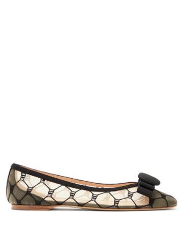 Matchesfashion.com Rupert Sanderson - Ace Embroidered-mesh Ballet Flats - Womens - Black Beige