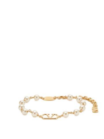 Matchesfashion.com Valentino Garavani - V-logo Faux-pearl Bracelet - Womens - Pearl