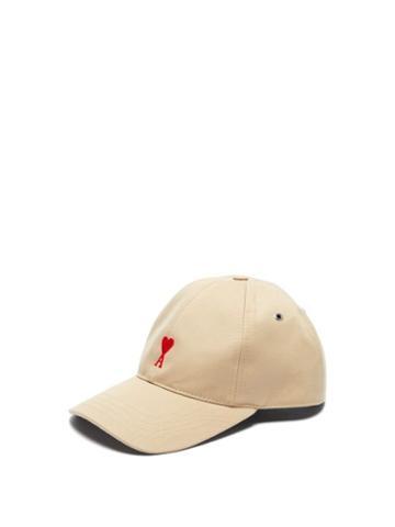 Matchesfashion.com Ami - Logo Embroidered Cotton Cap - Mens - Beige