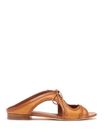 Matchesfashion.com Malone Souliers - Sabrina Tie Front Raffia And Leather Slides - Womens - Tan