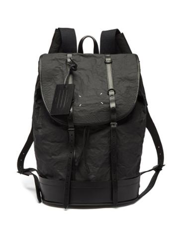 Matchesfashion.com Maison Margiela - Crinkled Leather-trim Backpack - Mens - Black