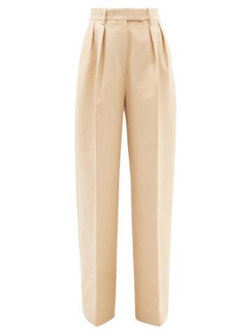 Khaite - Teyana High-rise Cotton Wide-leg Trousers - Womens - Cream