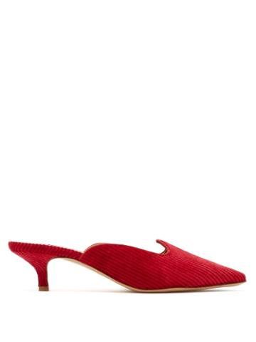 Matchesfashion.com Giuliva Heritage Collection - Venetian Corduroy Mules - Womens - Red