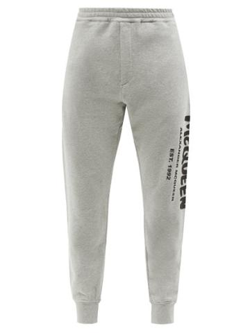Alexander Mcqueen - Graffiti-logo Cotton-jersey Track Pants - Mens - Grey