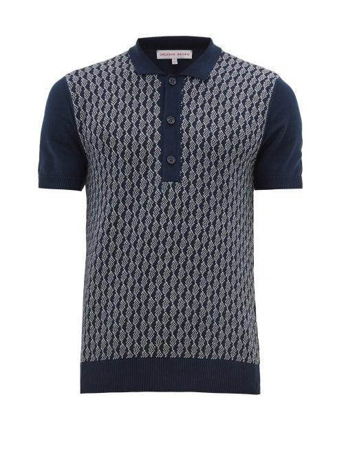Matchesfashion.com Orlebar Brown - Rushton Intarsia Knit Cotton Polo Shirt - Mens - Navy White