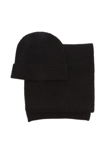 Matchesfashion.com Johnstons Of Elgin - Ribbed Cashmere Beanie Hat And Scarf - Womens - Black