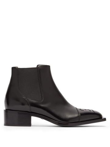Matchesfashion.com Fendi - Ff Embroidered Leather Chelsea Boots - Mens - Black