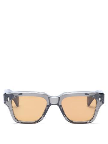 Matchesfashion.com Jacques Marie Mage - Fellini Square Acetate Sunglasses - Mens - Black Orange