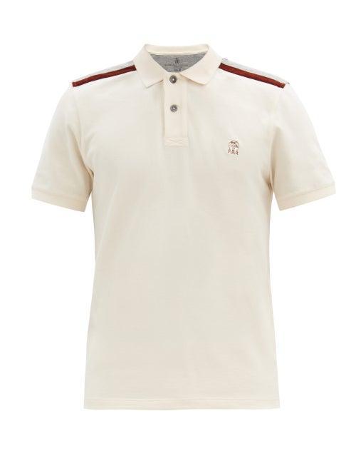 Matchesfashion.com Brunello Cucinelli - Logo-embroidered Cotton-piqu Polo Shirt - Mens - Cream