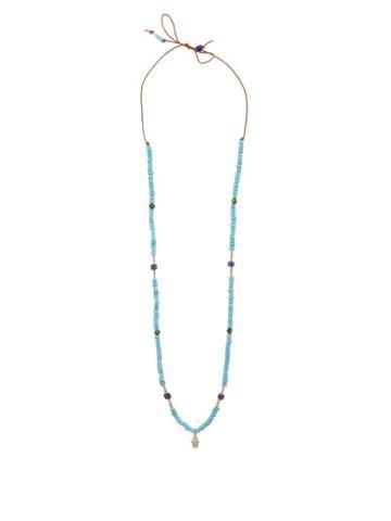 Matchesfashion.com Musa By Bobbie - Diamond & 14kt Gold-charm Beaded Necklace - Womens - Blue