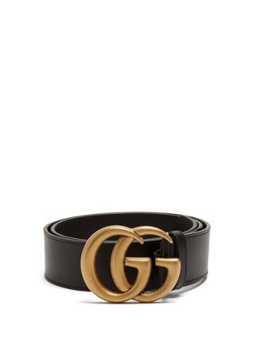 Matchesfashion.com Gucci - Gg-logo Leather Belt - Womens - Black