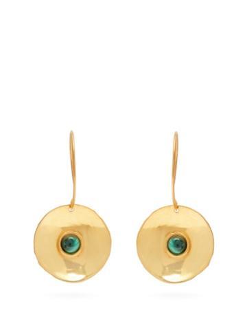 Matchesfashion.com Sylvia Toledano - Dancing Curved Disc Malachite Earrings - Womens - Green