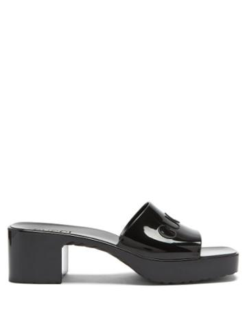 Matchesfashion.com Gucci - Logo-embossed Rubber Mules - Womens - Black