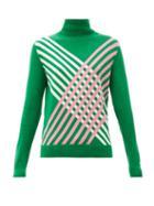 Matchesfashion.com Perfect Moment - Intarsia Stripe Roll Neck Merino Wool Sweater - Womens - Green
