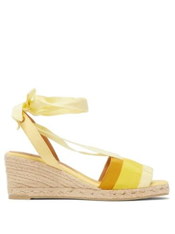 Matchesfashion.com Castaer - Delia 60 Grosgrain And Canvas Platform Wedges - Womens - Yellow