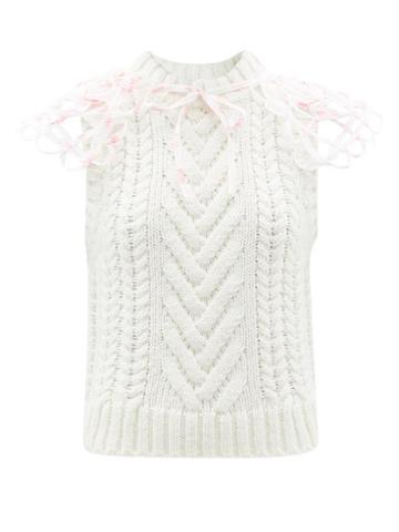 Cecilie Bahnsen - Brynlee Tie-collar Wool-blend Sleeveless Sweater - Womens - Cream