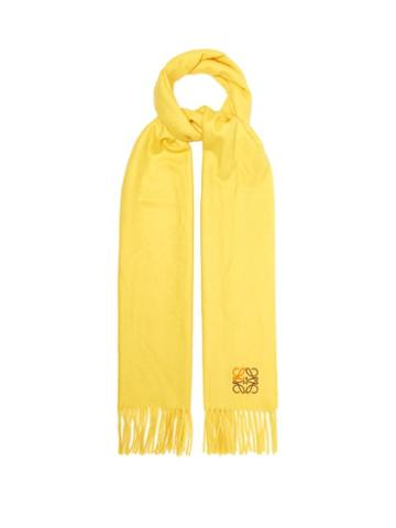 Loewe - Anagram-embroidered Cashmere Scarf - Womens - Yellow