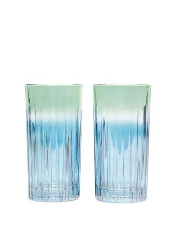 Matchesfashion.com Luisa Beccaria - Set Of Two Ridged Glasses - Green Multi