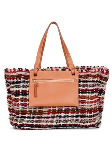 Matchesfashion.com See By Chlo - Cecilia Upcycled-tweed And Leather Tote Bag - Womens - Orange Multi