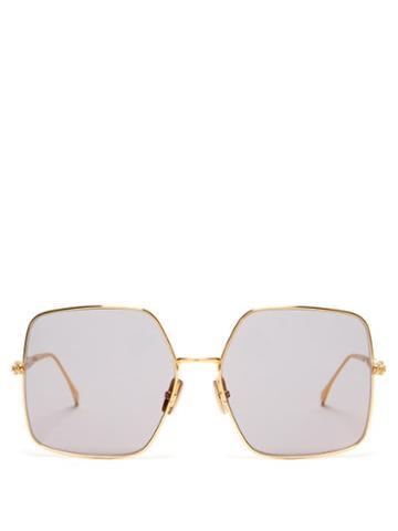 Matchesfashion.com Fendi - Baguette Oversized Square Metal Sunglasses - Womens - Gold
