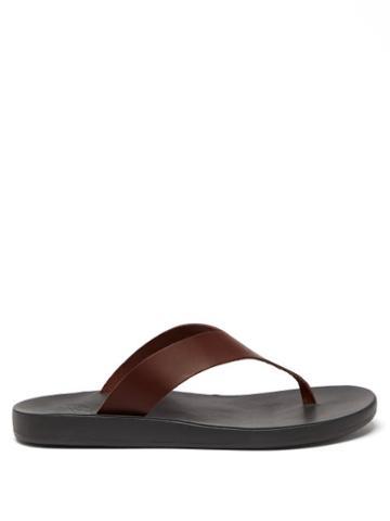 Mens Shoes Ancient Greek Sandals - Charys Leather Flip Flops - Mens - Black Brown