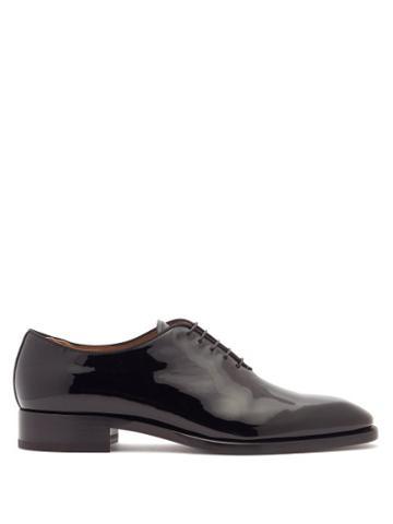 Matchesfashion.com Christian Louboutin - Corteo Patent-leather Oxford Shoes - Mens - Black