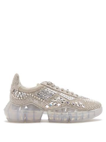 Matchesfashion.com Jimmy Choo - Diamond Crystal Embellished Suede Trainers - Womens - Silver