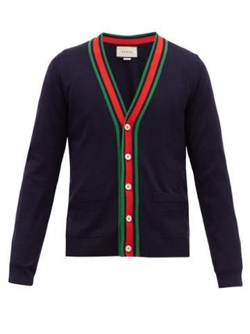 Matchesfashion.com Gucci - Web Striped Ribbed Knit Wool Cardigan - Mens - Navy