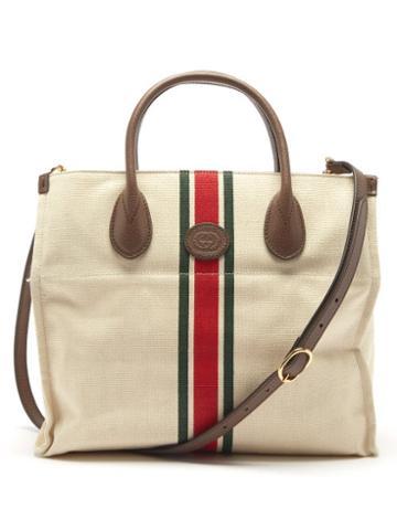 Gucci - Leather Trim Web-stripe Canvas Tote Bag - Mens - Beige