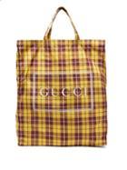 Matchesfashion.com Gucci - Checked Print Shell Tote Bag - Womens - Yellow Multi