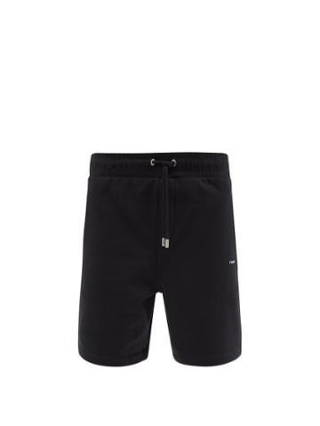 Matchesfashion.com Frame - Drawstring-waist Cotton-blend Jersey Shorts - Mens - Black