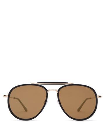 Matchesfashion.com Tom Ford Eyewear - Tripp Metal And Acetate Aviator Sunglasses - Mens - Black