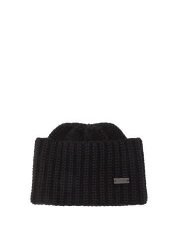 Saint Laurent - Logo-plaque Ribbed-knit Cashmere Beanie Hat - Womens - Black